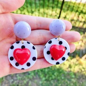 Handmade red heart polka dot earrings
